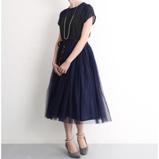 メルロー(merlot)の結婚式 二次会 ドレス ワンピース ネイビー(ミディアムドレス)