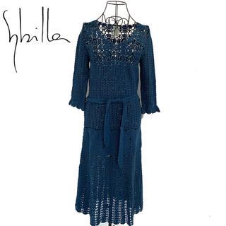 シビラ(Sybilla)のSybilla シビラ ニット ワンピース レディース  青 ブルー(ひざ丈ワンピース)