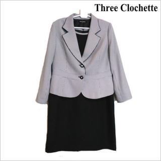 スリークロシェット■黒白柄3点スーツ■ジャケット ワンピース スカート■19(スーツ)