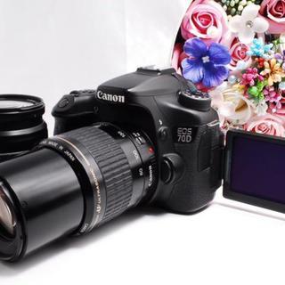 キヤノン(Canon)の【WiFi機能付き!】楽々転送 Canon EOS 70D ダブル レンズセット(デジタル一眼)