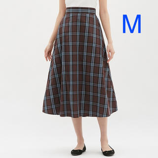 GU - チェックフレアロングスカート