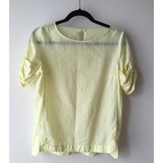 アーバンリサーチ(URBAN RESEARCH)のアーバンリサーチ 半袖黄色ストライプブラウス 袖リボン(シャツ/ブラウス(半袖/袖なし))