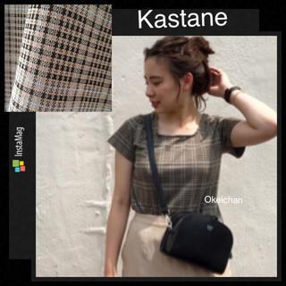 カスタネ(Kastane)の新品タグ付き☆タータンチェックチビT ベージュ(Tシャツ(半袖/袖なし))