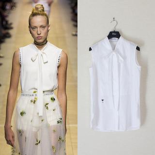 クリスチャンディオール(Christian Dior)のChristian Dior/17SS/BEE刺繍ボウタイノースリーブシャツ(シャツ/ブラウス(半袖/袖なし))