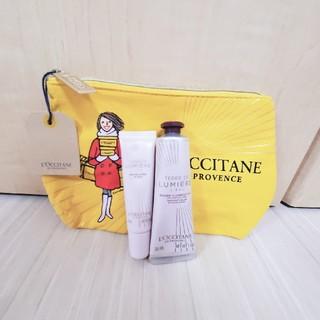 ロクシタン(L'OCCITANE)の♥L'OCCITANE ポーチ付3点セット♥(リップバーム・ハンドクリーム)(ハンドクリーム)