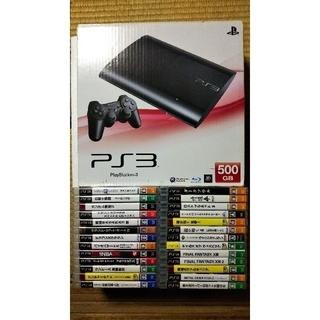 PlayStation3 - PS3 500G 本体 ブラック コントローラー×2 ソフト26本 オプション有