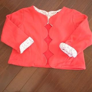 サマンサモスモス(SM2)のサマンサモス SM2 カーディガン ボレロ 赤 オレンジ 羽織 長袖 フリル 花(カーディガン)