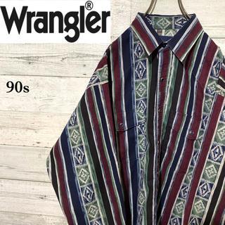 ラングラー(Wrangler)の【レア】ラングラー☆ネイティブ柄 マルチストライプ ウエスタンシャツ90s XL(シャツ)