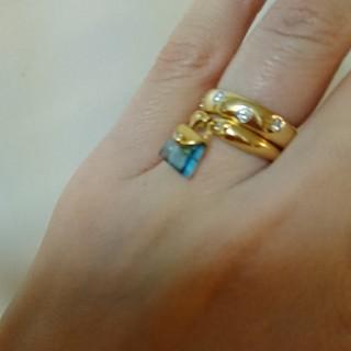 K18 ダイヤ トパーズ 鞄 リング(リング(指輪))