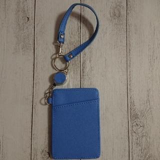 パスケース 定期入れ 青 ブルー リール付き カード 単面パス