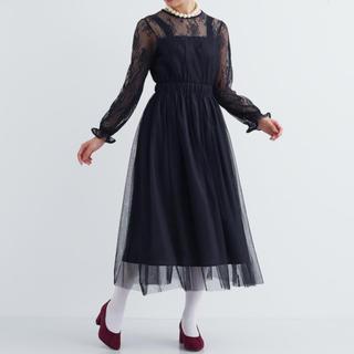 メルロー(merlot)のフラワーレース ドッキングチュール ドレス ワンピース merlot plus(ミディアムドレス)