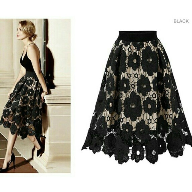 即日発送可能🌟 花柄 刺繍 ロングスカート レディースのスカート(ひざ丈スカート)の商品写真