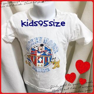 ミッキーマウス(ミッキーマウス)のkids95size♡マリン風ミッキーTシャツ ホワイト(Tシャツ/カットソー)