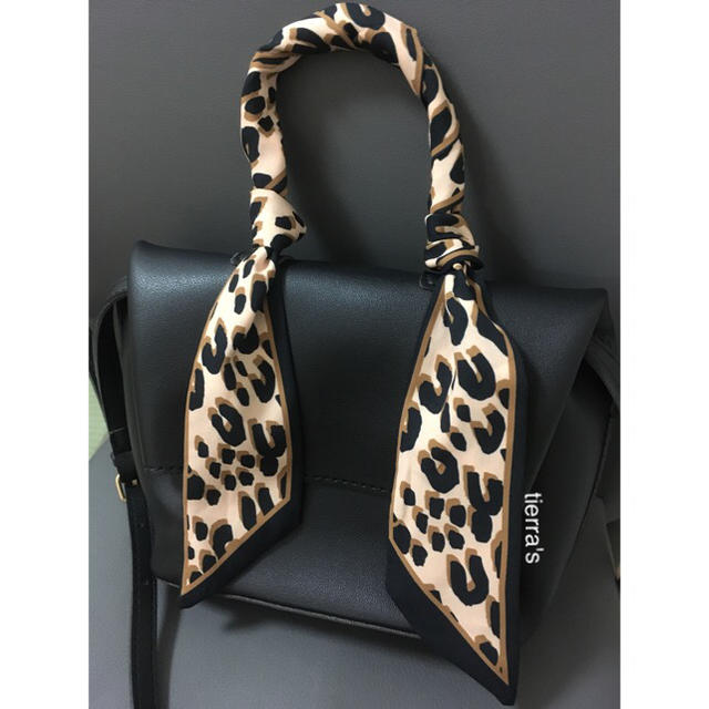 ZARA(ザラ)の大人気❁︎❁︎お手持ちのbagにも レオパード ヒョウ柄 タイ リボン スカーフ レディースのファッション小物(バンダナ/スカーフ)の商品写真