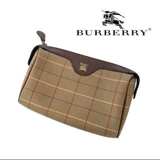 BURBERRY - burberry  バーバリー クラッチバッグ ポーチ ロゴ チェック
