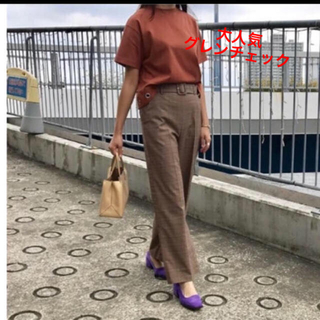 Mila Owen - ミラオーウェン グレンチェック 共ベルト付ハイウエストスーツパンツ