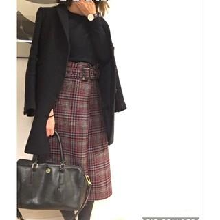 ミラオーウェン(Mila Owen)のトレンチライク台形チェックスカート(ひざ丈スカート)