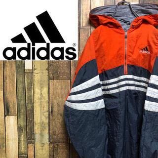 adidas - 【激レア】アディダス☆刺繍ロゴスリーストライプナイロンパーカーアノラック 90s
