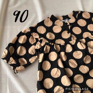 新品 ◆ 韓国子供服 丸ヨーク切替 水玉 ワンピース 90 大きめドット(ワンピース)
