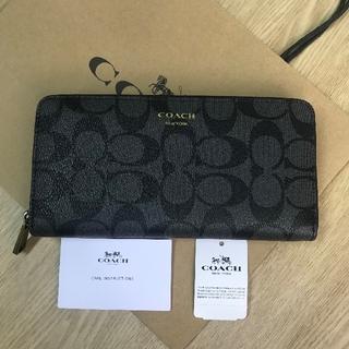 COACH - 新品タグ付き♡コーチCOACH♡シグネチャーブ ブラック(黒)×グレー長財布