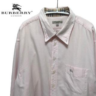 バーバリー(BURBERRY)のバーバリーロンドン シャツ長袖 ピンク メンズ サイズXL(シャツ)