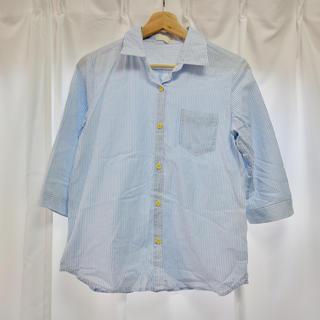 シマムラ(しまむら)のブルー ストライプシャツ 七分袖(シャツ/ブラウス(長袖/七分))