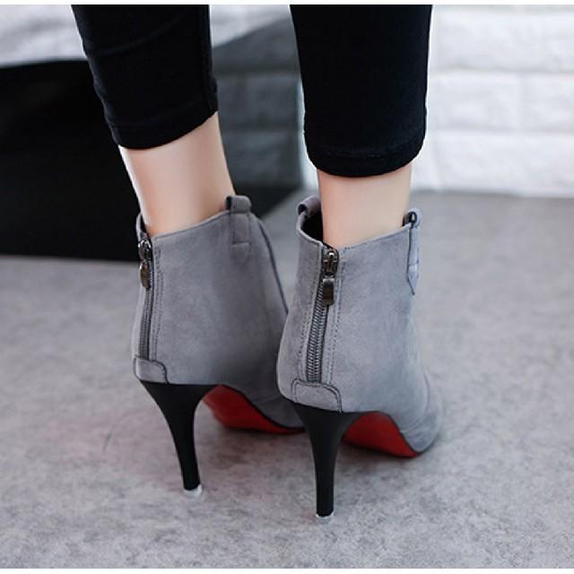 ブーティー レディース ショートブーツ スエード調 美脚ブーツ ヒール   レディースの靴/シューズ(ブーツ)の商品写真