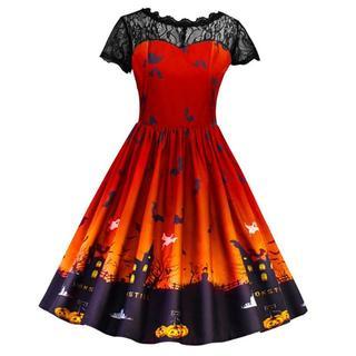 ハロウィン柄 Aライン ワンピース ドレス 大きいサイズ 女装 3L  オレンジ(ひざ丈ワンピース)