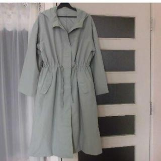 GU - GU  ゆったり ロングコート  くすみグリーン色 Lサイズ
