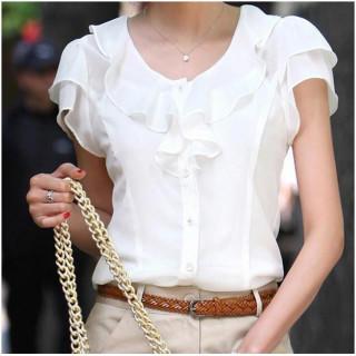 フォーマル ブラウス ホワイト シフォン フリル シャツ 半袖 無地 XXL(シャツ/ブラウス(半袖/袖なし))
