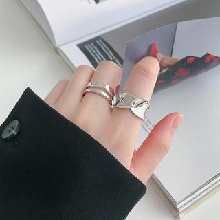 silver925ワイドプレート交差デザインリング(リング(指輪))
