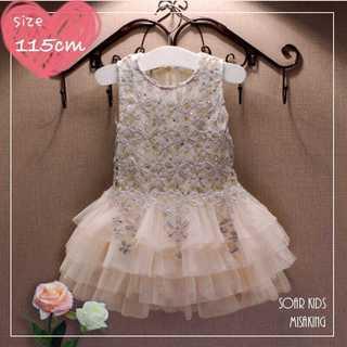 アウトレット⭐️ベージュレースドレス 115cm(120) 海外子供服(ワンピース)