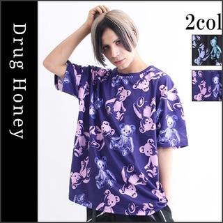 【DrugHoney】スケルトンテディ総柄Tシャツ パープル ドラッグハニー