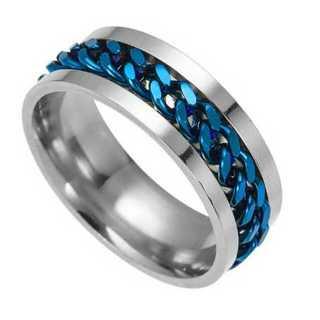 チェーンリング(ブルー) サイズ:15号(リング(指輪))