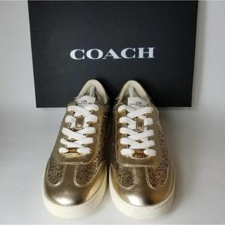 コーチ(COACH)の新品 未使用 コーチ ゴールド グリッター スニーカー(スニーカー)