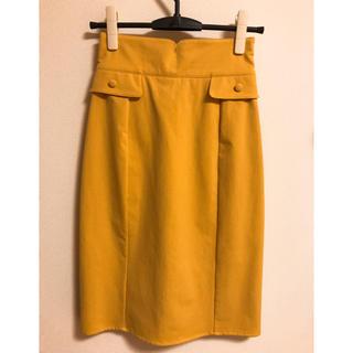 セシルマクビー(CECIL McBEE)のタイトスカート イエロー 膝下(ロングスカート)