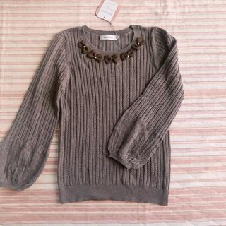 Couture Brooch - ニット リボン パール ブラウン クチュールブローチ