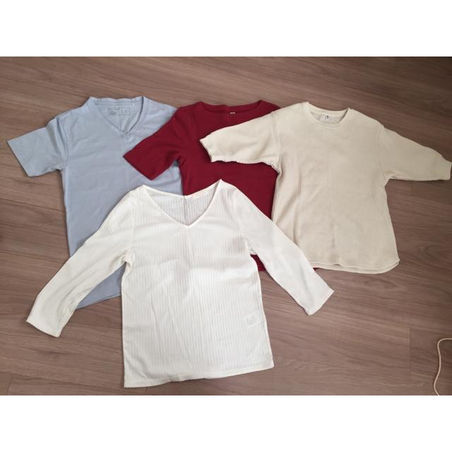 UNIQLO(ユニクロ)のシンプル無地Tシャツまとめ売りS〜Mサイズ レディースのトップス(Tシャツ(半袖/袖なし))の商品写真