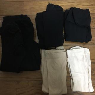 ベージュストッキング ブラックタイツ など中古 お掃除に 黒 5足セット