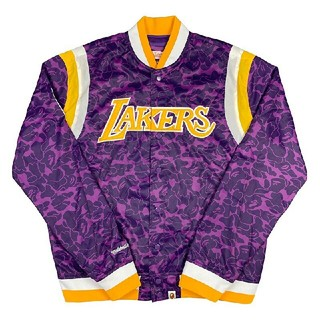 A BATHING APE - 新品 Bape Mitchell & Ness Lakers Jacket