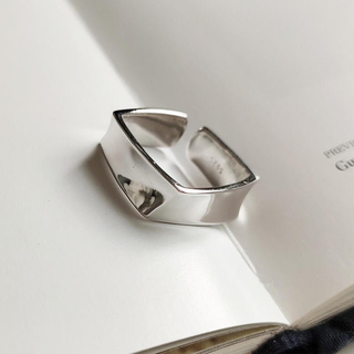 silver925スクエア幾何学デザインリング(リング(指輪))