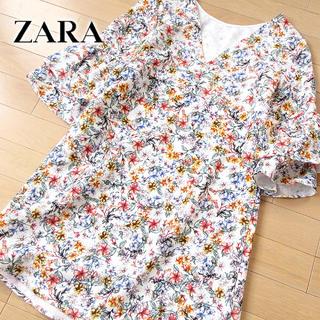 ザラ(ZARA)の新品タグ付 ZARA 日本サイズS〜M ザラ 花柄ワンピース(ミニワンピース)