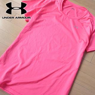 アンダーアーマー(UNDER ARMOUR)の美品 XL アンダーアーマー レディース 半袖Tシャツ ピンク(Tシャツ(半袖/袖なし))