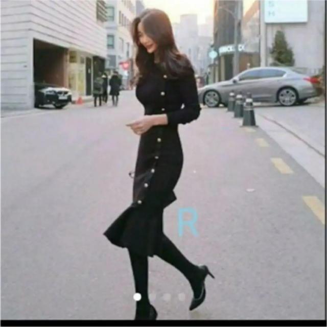 ZARA(ザラ)のスタイル抜群♥ボタン ライン♥ニット ワンピース♥ブラック♥M レディースのワンピース(ひざ丈ワンピース)の商品写真