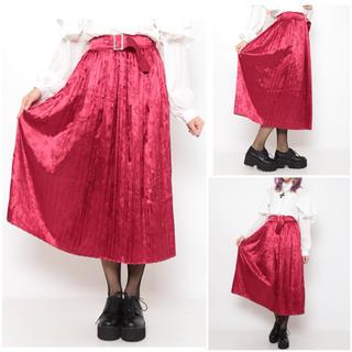 ファンキーフルーツ(FUNKY FRUIT)のベルト付き チャイナ プリーツスカート RED drug honey(ロングスカート)