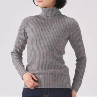 MUJI (無印良品) - 無印良品 タートルネック セーター グレー