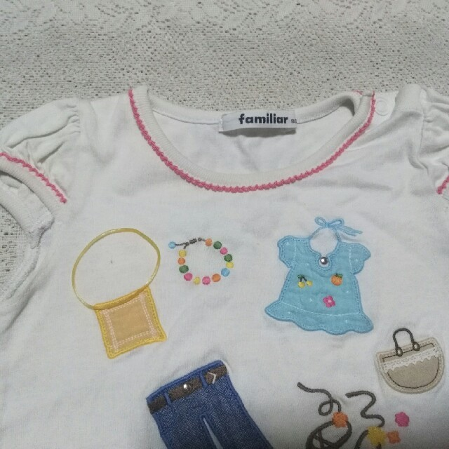 familiar(ファミリア)の【難あり】Familiar パフスリーブカットソー80&カットクロス キッズ/ベビー/マタニティのベビー服(~85cm)(Tシャツ)の商品写真