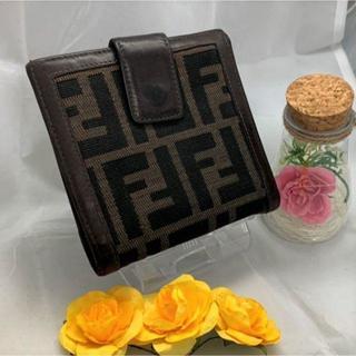 フェンディ(FENDI)の【FENDI】 フェンディ 正規品 財布 折財布 二つ折り ズッカ 茶 ブラウン(財布)