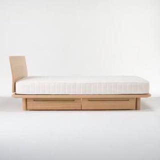 MUJI (無印良品) - 無印良品 / 17年製 オーク材 シングルベッド 高密度ポケットコイルマットレス