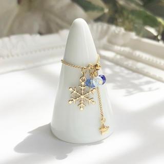 【リング雪】舞い散る雪シリーズ 雪の結晶チェーンリング/指輪  ブルー(リング)